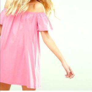 Pink ASOS off the shoulder dress